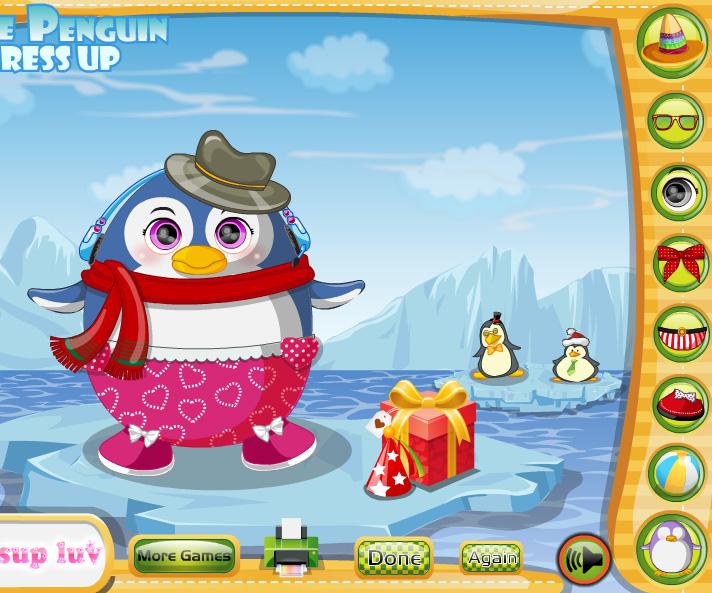 Cute Penguin Dress Up game online. Screen Shot 1