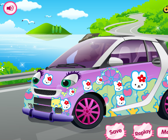 Hello Kitty Car game online. Screen Shot 2