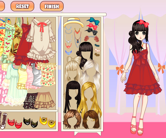 Laces girl dress up game online screen shot 4