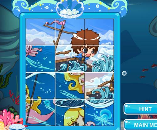 Lovely Mermaid Jigsaw game online. Screen Shot 2