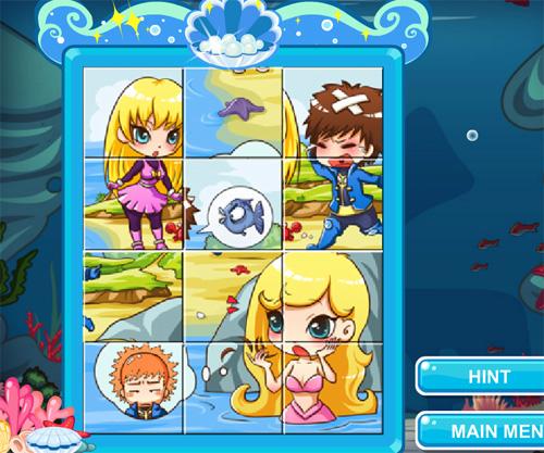 Lovely Mermaid Jigsaw game online. Screen Shot 4