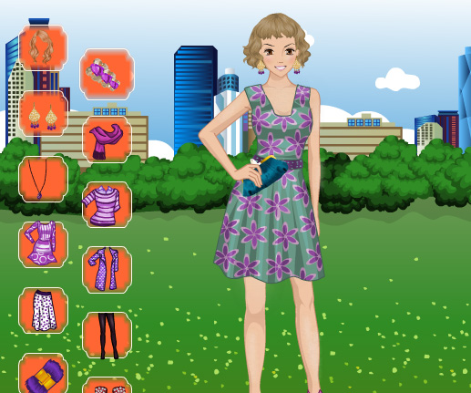 Purple Fashion Dress Up game online. Screen Shot 3