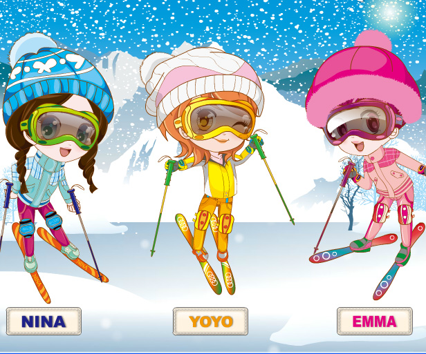 Three Snow Lovers game online. Screen Shot 1