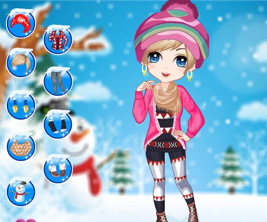 Winter Girl Fashion game online. Screen Shot 2