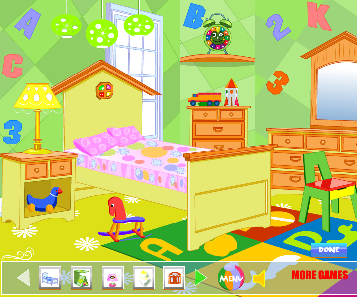 Winx club room decoration game online girls games only for Baby room decoration games